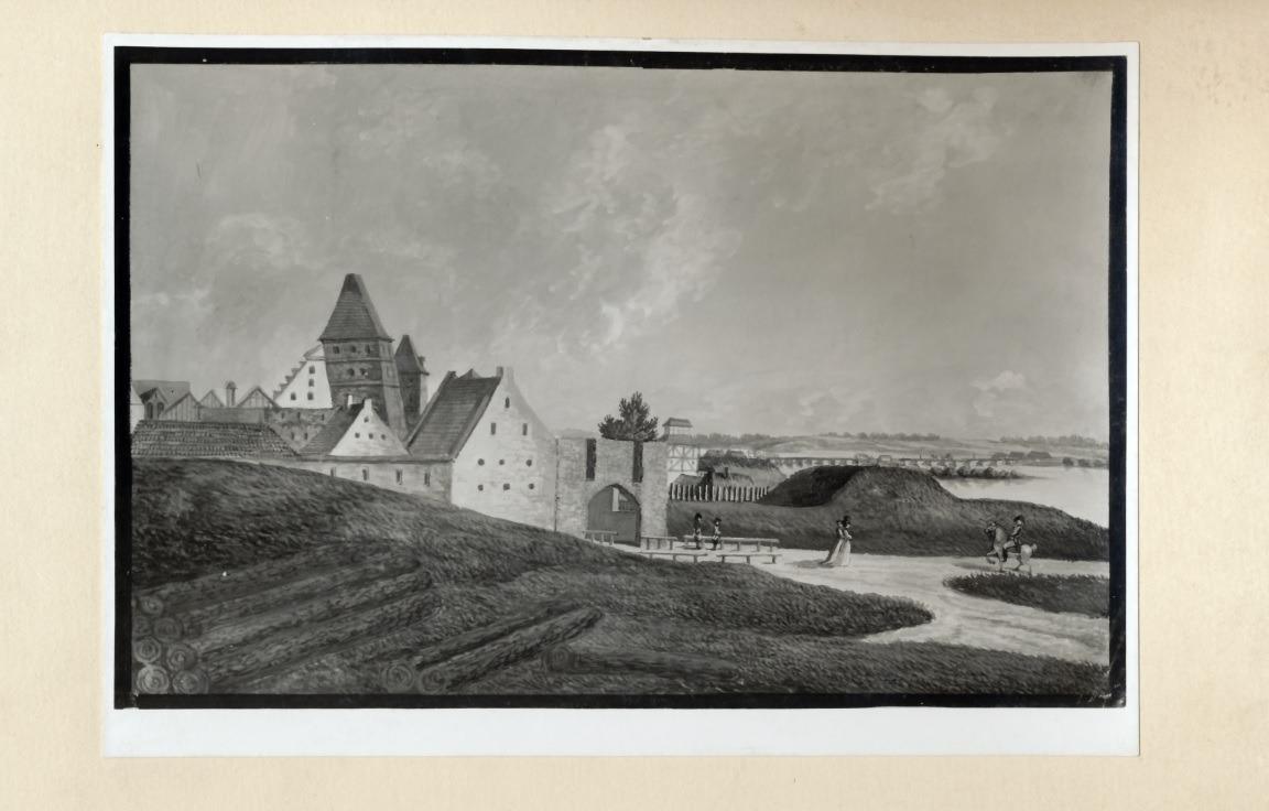 Gwasz Karla Albertiego pokazujący fragment Torunia, na którym widać dwie krzywe wieże, 1790-1793. Reprodukcja wykonana w kwietniu 1942.
