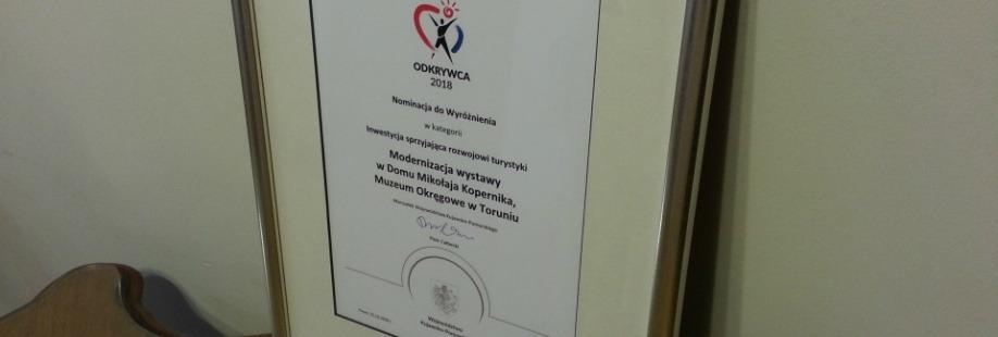 """Dom Mikołaja Kopernika nominowany w konkursie """"Odkrywca"""" 2018"""