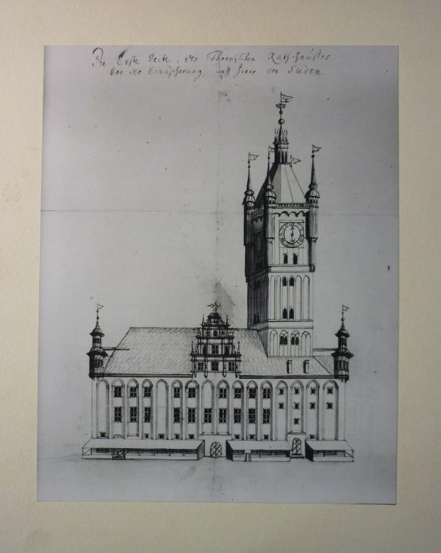 Ratusz Staromiejski w Toruniu. Stan przed pożarem w 1703. Rysunek z tzw. Albumu Steinera. Reprodukcja wykonana w 1940 roku.